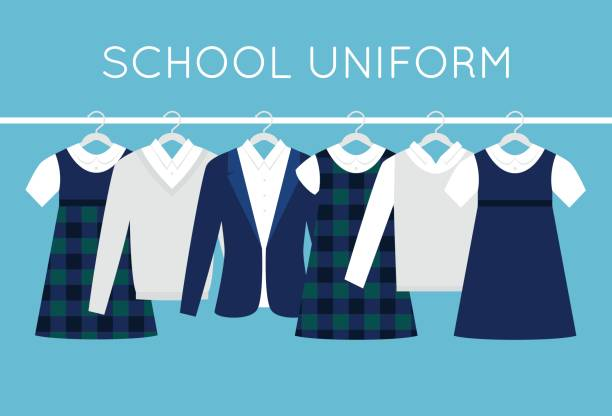 School or College Uniforms on Hangers in Line. Children Clothes Vector Illustration